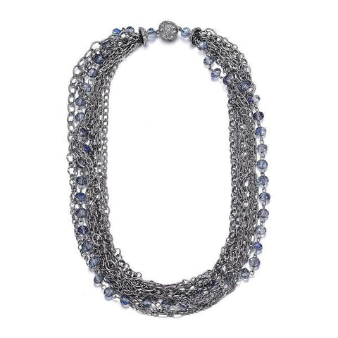 Clarice Multi-Strand Necklace: Silver-Jewels to Jet-Magnetic Clasp Jewelry