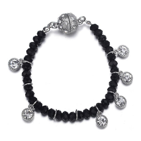 Lyric: Black Diamonds & Crystal Drops Bracelet With Magna Clasp-Jewels to Jet-Magnetic Clasp Jewelry