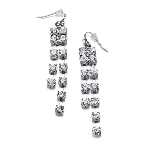 Elizabeth: Silver Drop Earrings-Jewels to Jet-Magnetic Clasp Jewelry