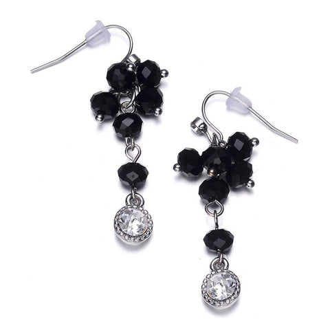 Lyric: Black Diamonds & Crystal Drops Earrings-Jewels to Jet-Magnetic Clasp Jewelry