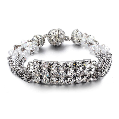 Elizabeth: Silver Bracelet-Jewels to Jet-Magnetic Clasp Jewelry
