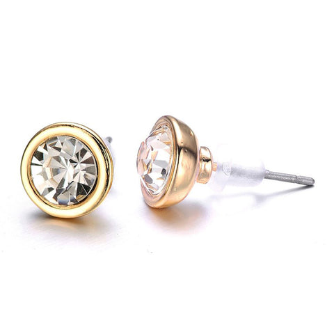 New Kingston: Gold & Sparkling Crystals Stud Earrings - Jewels to Jet