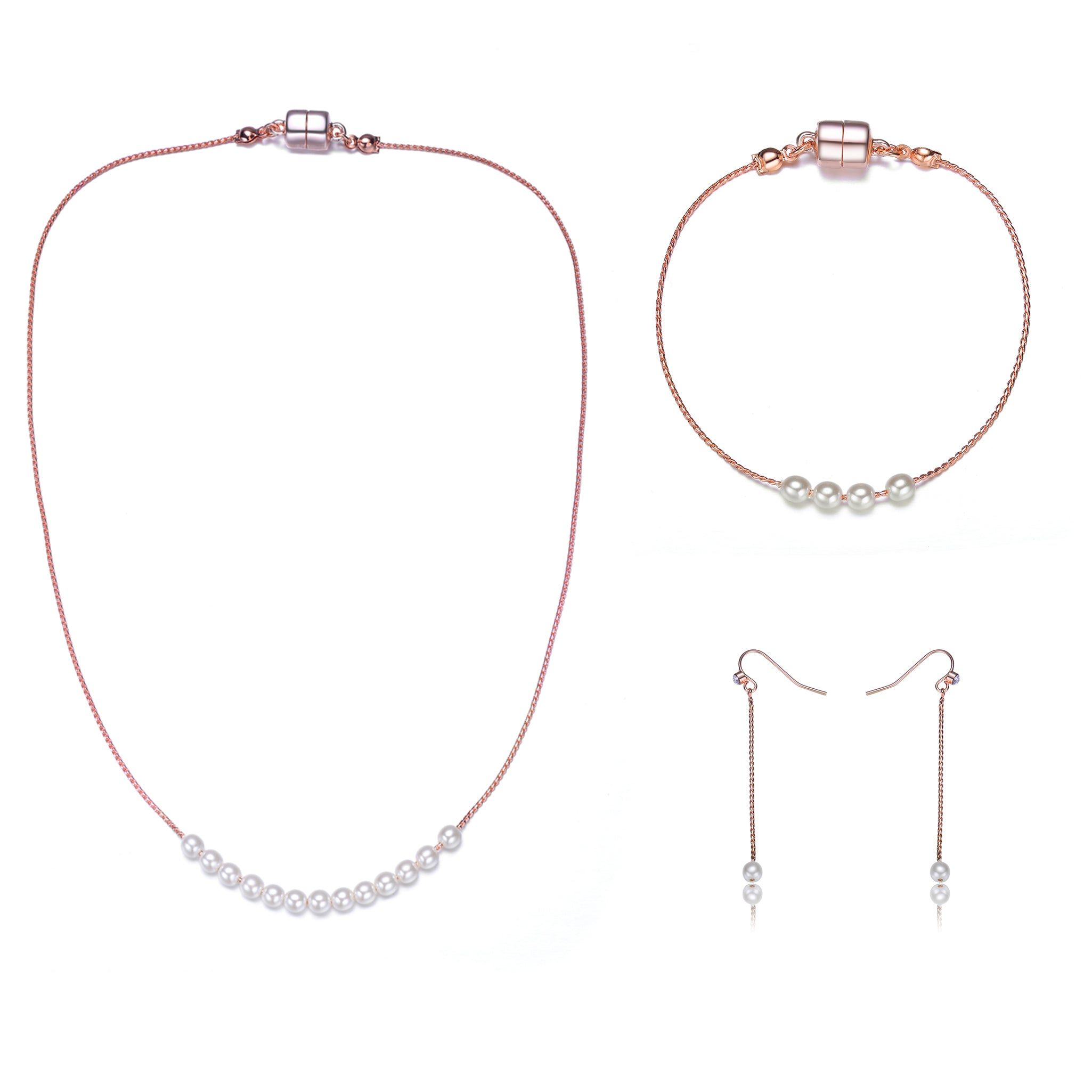 Carol: Full Set Pearl Jewelry Collection-Jewels to Jet-Magnetic Clasp Jewelry