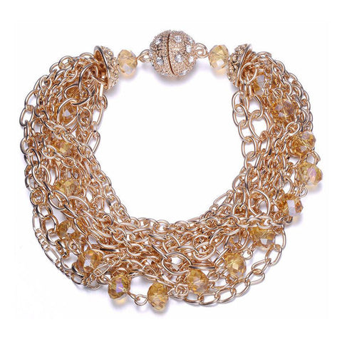 Clarice: Gold Interwoven Bracelet With Magna Clasp-Jewels to Jet-Magnetic Clasp Jewelry