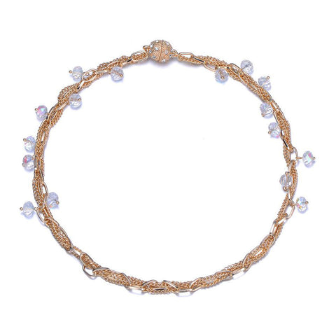 Clarice Single Strand Necklace: Silver or Gold-Jewels to Jet-Magnetic Clasp Jewelry
