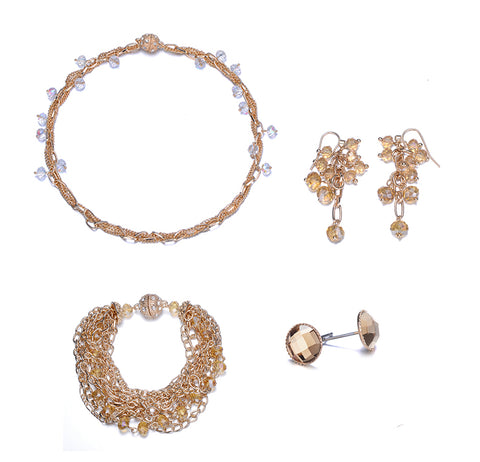 Clarice: 4 Piece Interwoven Gold & Topaz Jewelry Set With Magna Clasp-Jewels to Jet-Magnetic Clasp Jewelry