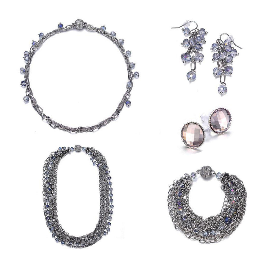 Clarice: Layered 5-Piece Jewelry Set in Silver or Gold-Jewels to Jet-Magnetic Clasp Jewelry