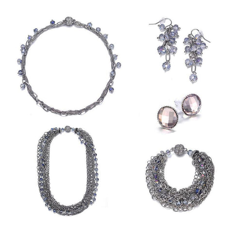 Clarice: Silver & Topaz Jewelry Set With Magna Clasp - Jewels to Jet
