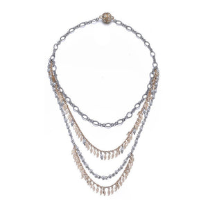 Amrita Sen Cosmic Love: Multi-Strand Necklace-Jewels to Jet-Magnetic Clasp Jewelry