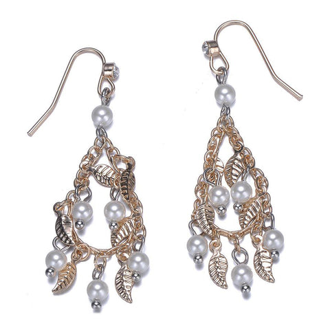 Amrita Sen MagnaClasp Cosmic Love: Pearl & Gold Drop Earrings-Jewels to Jet-Magnetic Clasp Jewelry