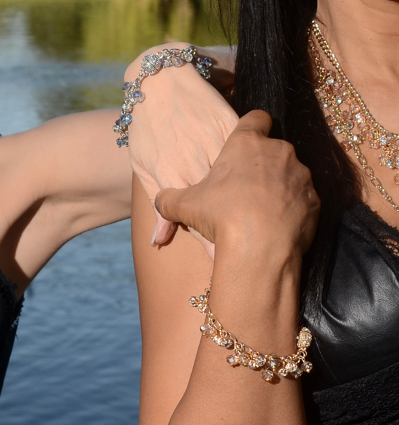 St. Tropez Bracelet: Silver or Gold-Jewels to Jet-Magnetic Clasp Jewelry