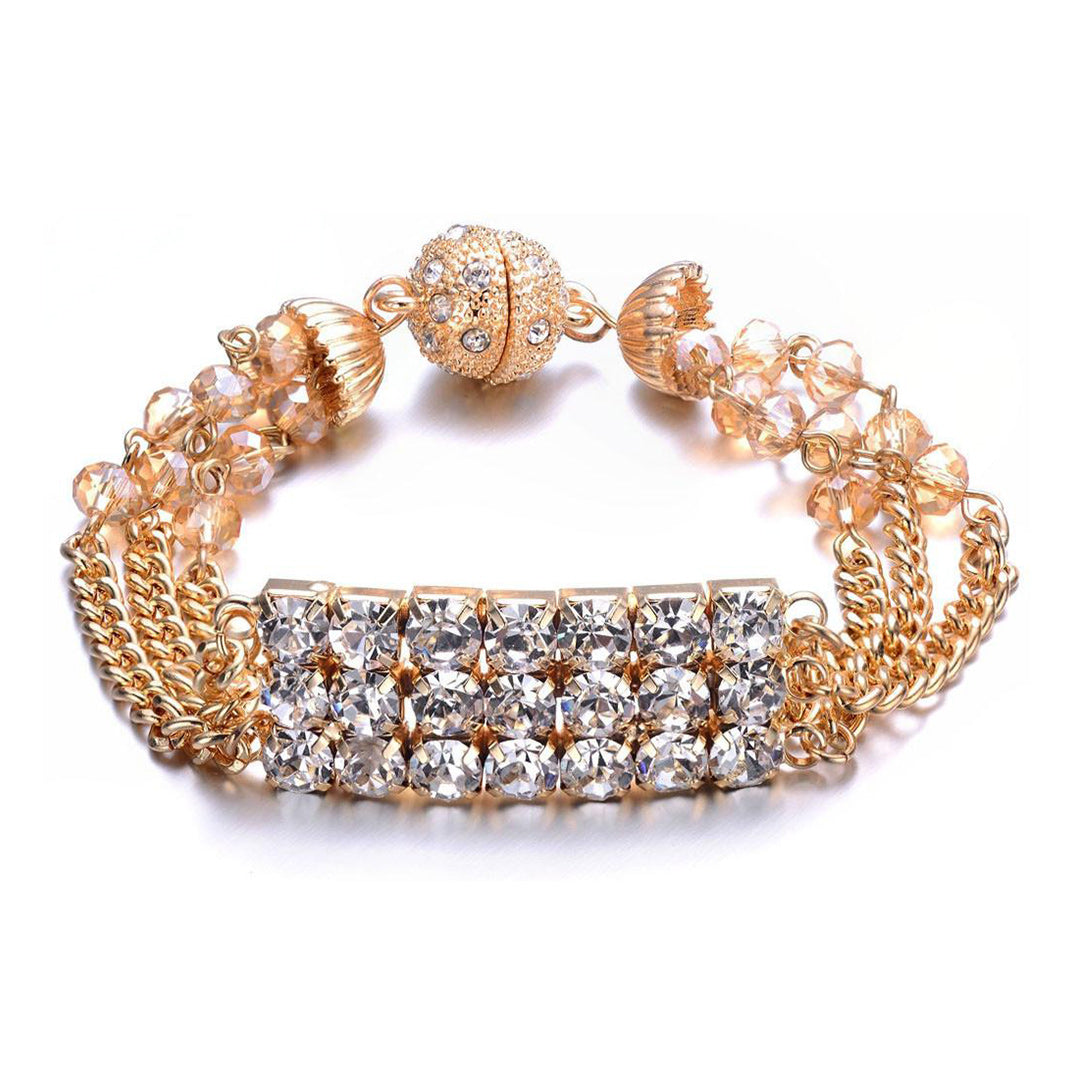 Elizabeth Bracelet: Silver or Gold-Jewels to Jet-Magnetic Clasp Jewelry
