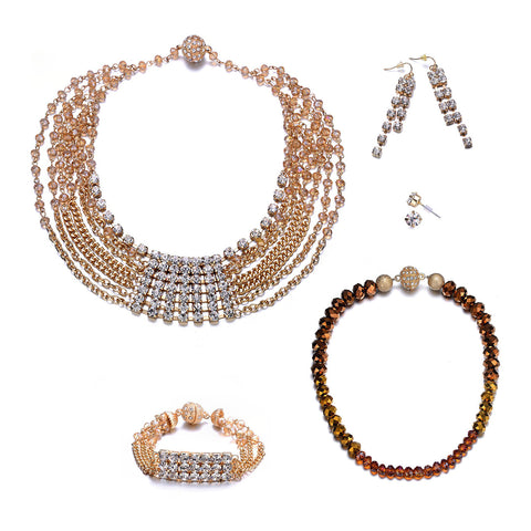 Elizabeth: Gold 5 Piece Jewelry Set with Magna Clasp-Jewels to Jet-Magnetic Clasp Jewelry