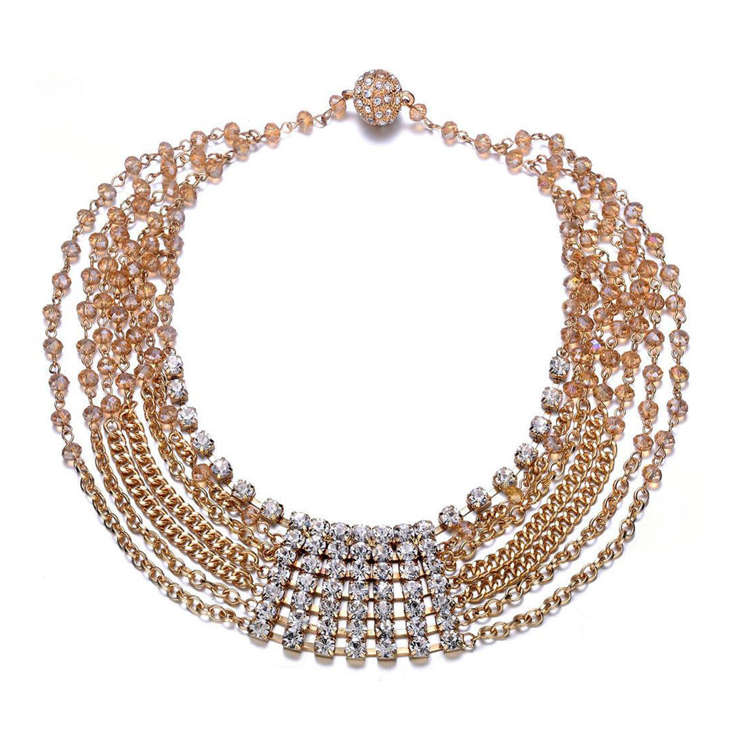 Elizabeth Multi-Strand Necklace: Silver or Gold-Jewels to Jet-Magnetic Clasp Jewelry