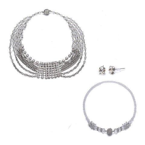 Elizabeth: Silver 3 Piece Jewelry Set With Magna Clasp-Jewels to Jet-Magnetic Clasp Jewelry
