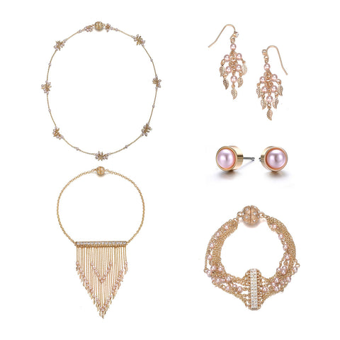 Gold & Honey: 5 Piece Jewelry Set By Amrita Sen & Jewels To Jet-Jewels to Jet-Magnetic Clasp Jewelry