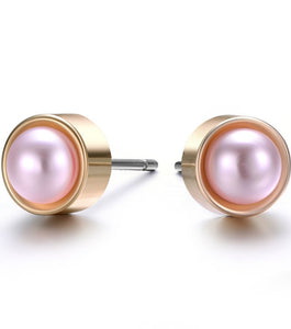 Amrita Sen: Pearl & Gold Stud Earrings-Jewels to Jet-Magnetic Clasp Jewelry