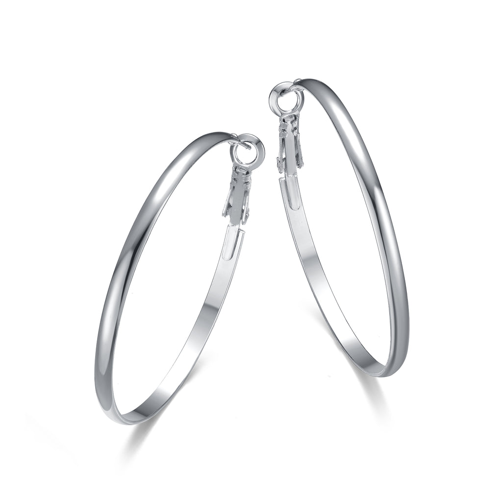 Hoop Earrings Silver 40mm By Jewels To Jet-Jewels to Jet-Magnetic Clasp Jewelry