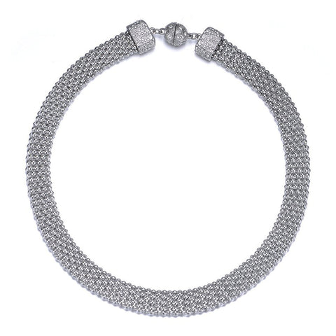 New Kingston: Silver Braided Long Necklace With Magna Clasp - Jewels to Jet