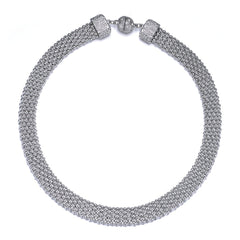 New Kingston: Silver Braided Long Necklace With Magna Clasp
