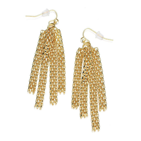 New Kingston: Gold Braided Strands Earrings-Jewels to Jet-Magnetic Clasp Jewelry