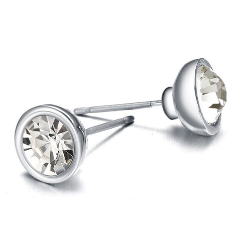 New Kingston: Silver & Sparkling Crystals Stud Earrings-Jewels to Jet-Magnetic Clasp Jewelry