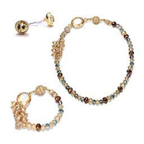 Lola: 3 Piece Gold & Topaz-toned Jewelry Set With Magna Clasp-Jewels to Jet-Magnetic Clasp Jewelry