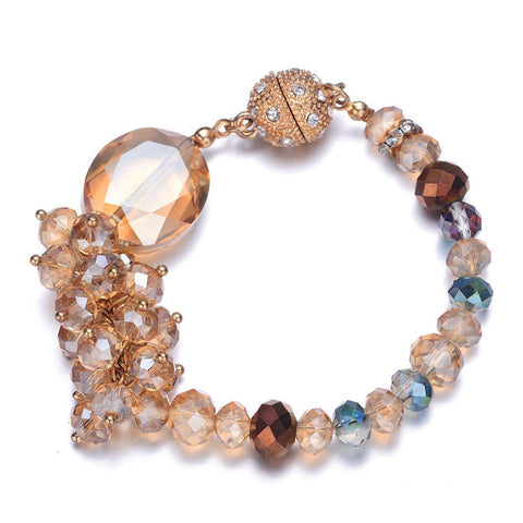 Lola: Gold & Creamy Topaz-toned Bracelet With Magna Clasp-Jewels to Jet-Magnetic Clasp Jewelry