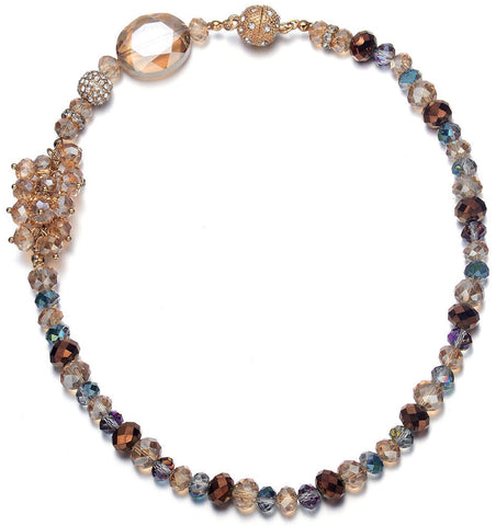 Lola: Gold & Creamy Topaz-toned Necklace With Magna Clasp-Jewels to Jet-Magnetic Clasp Jewelry