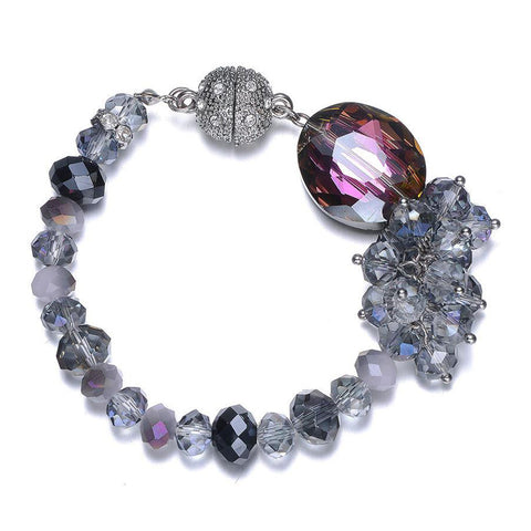 Lola: Silver & Blue Topaz-toned Bracelet With Magna Clasp-Jewels to Jet-Magnetic Clasp Jewelry
