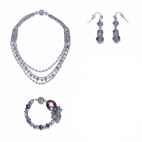 Lola: 3 Piece Silver & Blue Topaz-toned Jewelry Set With Magna Clasp-Jewels to Jet-Magnetic Clasp Jewelry
