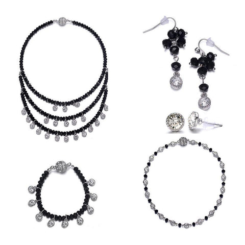 Lyric: 5 Piece Vintage-inspired Black Diamond Jewelry Set With Magna Clasp-Jewels to Jet-Magnetic Clasp Jewelry