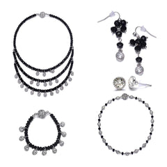 Lyric: 5 Piece Vintage-inspired Black Diamond Jewelry Set With Magna Clasp