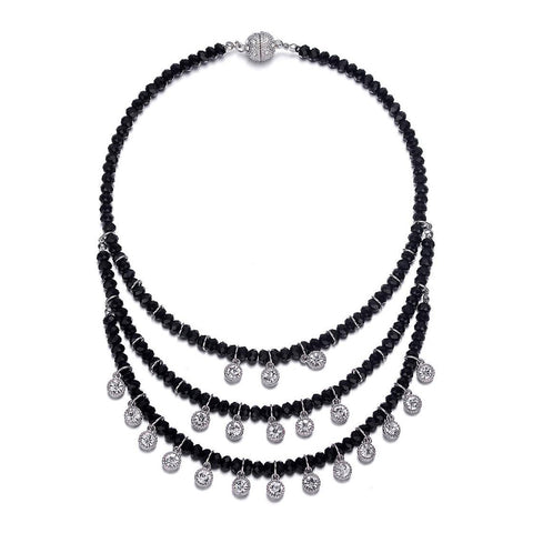 Lyric: Black Diamonds & Crystal Drops Multistrand Necklace With Magna Clasp-Jewels to Jet-Magnetic Clasp Jewelry