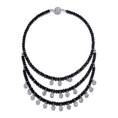 Lyric: Black Diamonds & Crystal Drops Multistrand Necklace With Magna Clasp