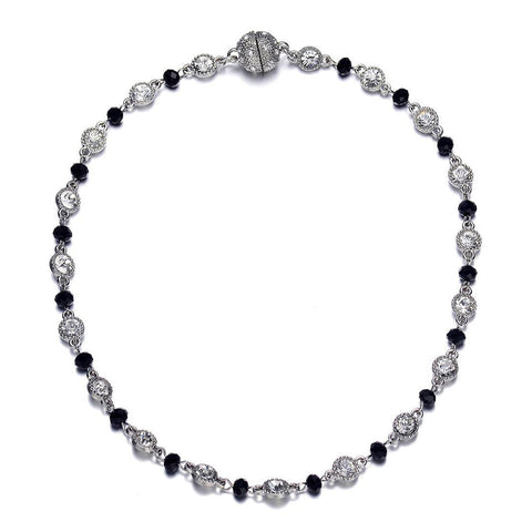 Lyric: Black Diamonds & Crystals Necklace With Magna Clasp-Jewels to Jet-Magnetic Clasp Jewelry
