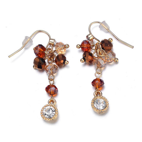 Lyric: Gold / Dark Topaz Earrings-Jewels to Jet-Magnetic Clasp Jewelry