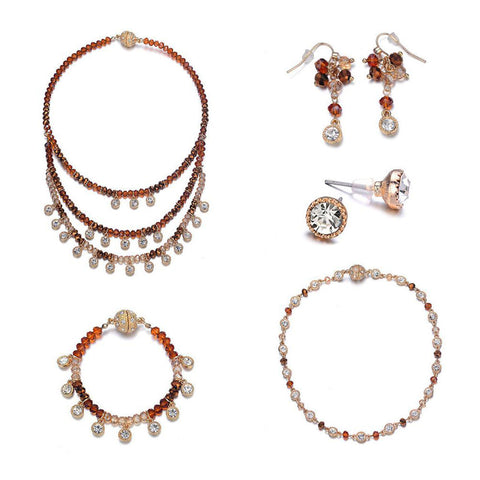 Lyric: 5 Piece Vintage-inspired Gold / Dark Topaz Jewelry Set With Magna Clasp-Jewels to Jet-Magnetic Clasp Jewelry