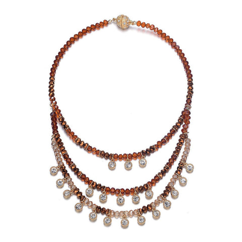 Lyric: Gold / Dark Topaz & Crystal Drops Multistrand Necklace With Magna Clasp-Jewels to Jet-Magnetic Clasp Jewelry