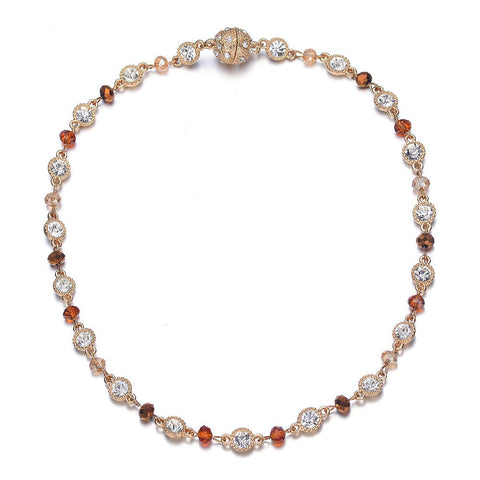 Lyric: Gold / Dark Topaz & Crystals Necklace With Magna Clasp-Jewels to Jet-Magnetic Clasp Jewelry