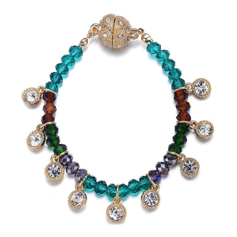 Lyric: Green / Dark Topaz & Crystal Drops Bracelet With Magna Clasp - Jewels to Jet