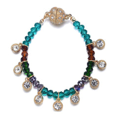 Lyric: Green / Dark Topaz & Crystal Drops Bracelet With Magna Clasp
