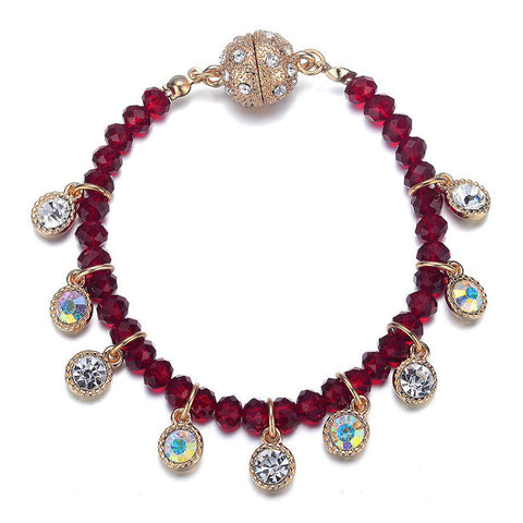 Lyric: Red Beads & Crystals Bracelet With Magna Clasp-Jewels to Jet-Magnetic Clasp Jewelry