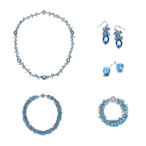 Madeira: 5 Piece Colorful Jewelry Set With Magna Clasp-Jewels to Jet-Magnetic Clasp Jewelry