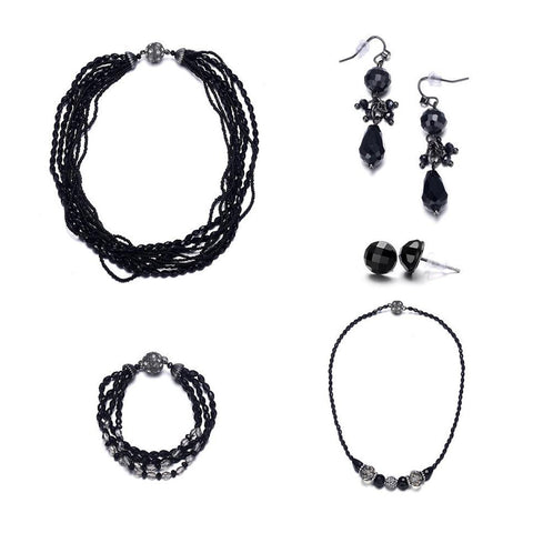 Miro: 5 Piece Shimmering Black Jewelry Set with Magna Clasp - Jewels to Jet