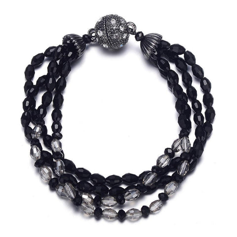 Miro: Shimmering Black Beads Bracelet With Magna Clasp - Jewels to Jet