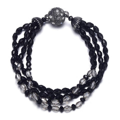 Miro: Shimmering Black Beads Bracelet With Magna Clasp