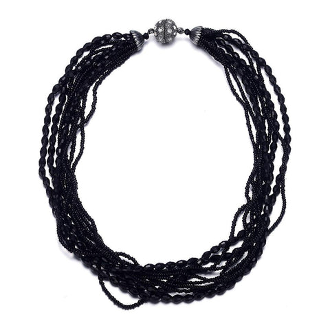 Miro: Shimmering Black Beads Multistrand Necklace With Magna Clasp-Jewels to Jet-Magnetic Clasp Jewelry