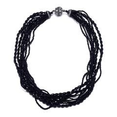 Miro: Shimmering Black Beads Multistrand Necklace With Magna Clasp