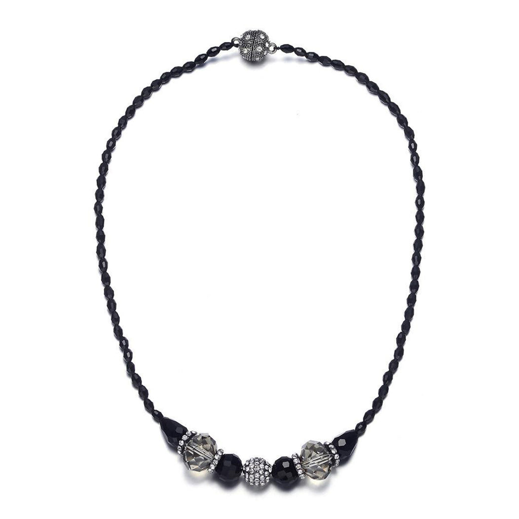 Miro: Shimmering Black Beads Singlestrand Necklace With Magna Clasp-Jewels to Jet-Magnetic Clasp Jewelry